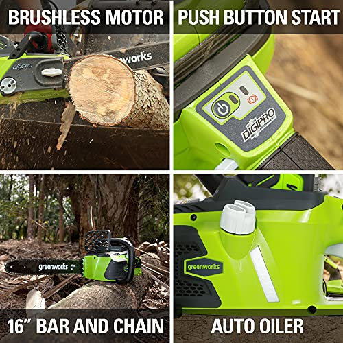 Greenworks 40V 16-Inch Cordless Chainsaw, 4AH Battery and a Charger Included, 20312