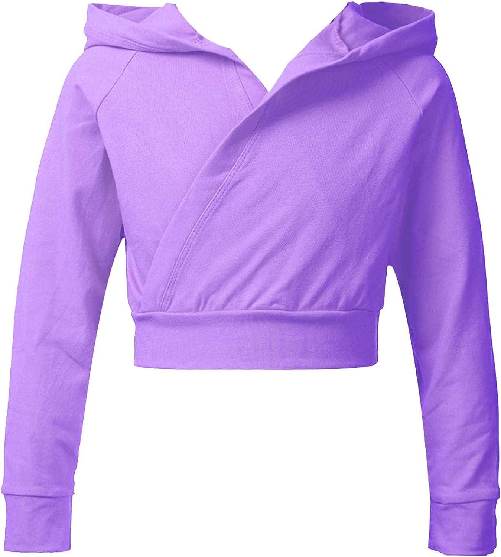 Agoky Kids Girls Long Sleeve Hoodie Ballet Wrap Crop Tops Athletic Gymnastic Slim Solid Color Cardigan Outwear Top