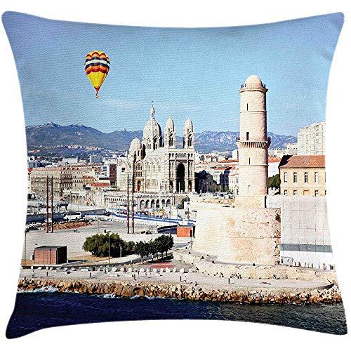 QDAS kussensloop voor kussens uit Frankrijk van de oude haven Marseille en Sunny Day Art illustratie vierkant kussen pale Blue Sky And