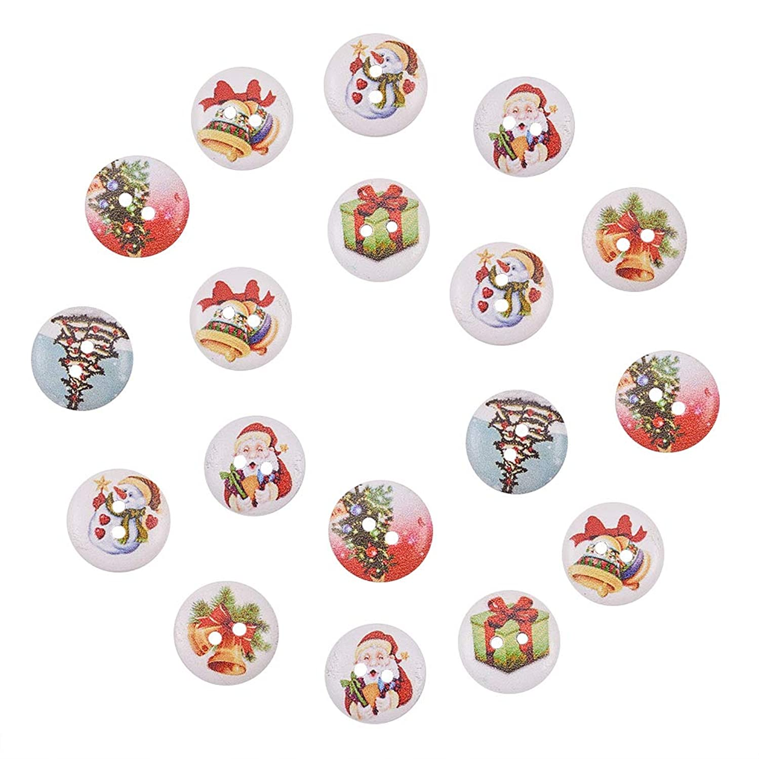 NBEADS 500 Pcs Holiday Buttons, 2-Hole Dyed Flat Round Printed Wooden Sewing Buttons for Christmas, Mixed Color, 15x4mm, Hole: 1.5mm