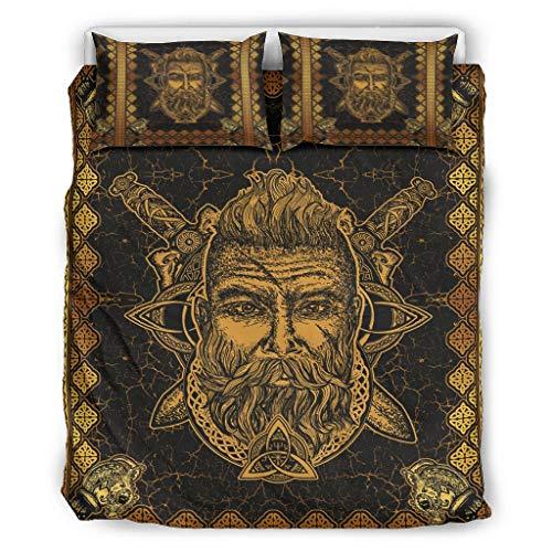 Hanebar Laickter Juego de ropa de cama Viking Odin suave y ligero, 1 funda de edredón y 2 fundas de almohada para niños, color blanco 66 x 90 pulgadas