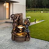 "Glitzhome Children Playing with Faucet Patio Fountain Waterfall Antique Bronze Boy and Girl Outdoor Waterfall Fountain with LED Lights Soothing Sound Garden Waterfall for Patio Backyard Garden, 25""H"