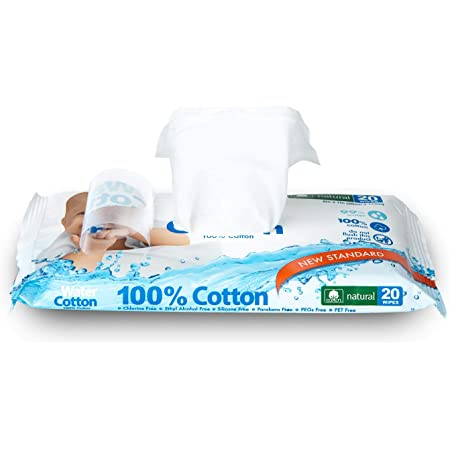 WaterCotton Baby Wipes 100% Cotton Biodegradable Travel Pack of 20 Wipes Baby Safe Sweet Almond Oil, Panthenol