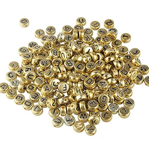 WEIMEIDA Suliaoz109 100 unids 7mm Pinchos de acrílico Perlas Redondo Oro Negro Palabra Ingles Letras DI Accesorios de Joyas de Pulsera y Bricolaje Rosario