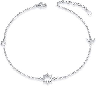 925 Sterling Silver Ankle Bracelets Moon Star Sun Universe/Flower/Sunflower/Heart/Sideway Cross Adjustable Anklet Jewelry Foot Chain for Women Girls 9+1inch