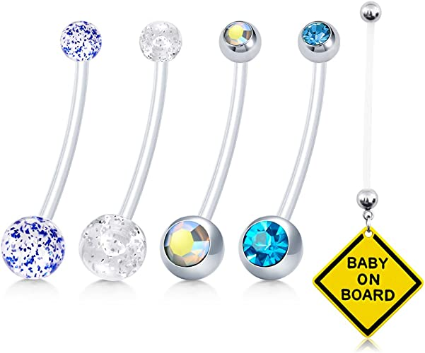 Pregnancy Belly Button Ring Blue BABY GIRL One-Piece 14g BioFlex and Stainless Steel Navel Piercing Maternity Body Jewelry