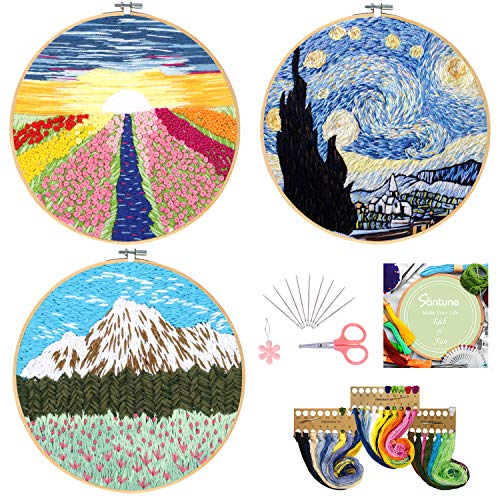 Santune 3 Sets Embroidery Starter Kit with Pattern and Instructions, Cross Stitch Set, Stamped Embroidery Kits with 3 Embroidery Pattern, 1 Embroidery Hoops (Van Gogh-Rainbow-Mountain)