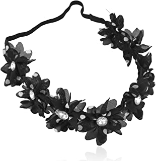 Lux Accessories Halloween Girls Fun Polka Dot Crystal Floral Flower Stretch Headband Head Band