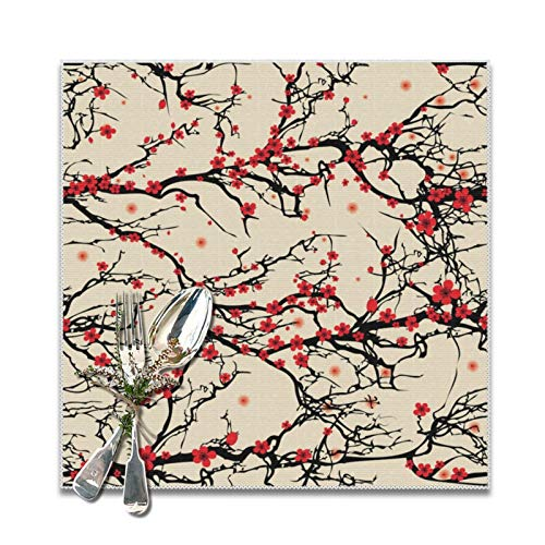 Meius Juego de 6 manteles individuales cuadrados de poliéster con diseño de flor de ciruelo oriental japonés, suave y lavable, para cocina, comedor, decoración del hogar