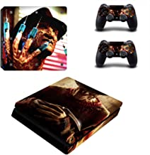 Decal Moments PS4 Slim Console Skin Set Vinyl Decal Sticker for Playstation 4 Slim Console Dualshock 2 Controller-Horror (PS4 Slim Only)