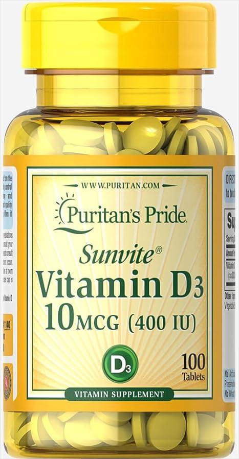 今まで配偶者賢いピューリタンズプライド(Puritan's Pride) ビタミンD D-3 400 I.U.タブレット