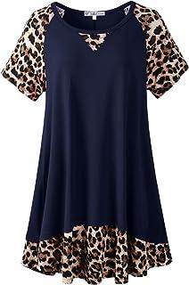JollieLovin Women's Plus Size Top Casual Summer Short Sleeve Tunic Crew Neck Loose Fit Leopard Print Flowy Shirts