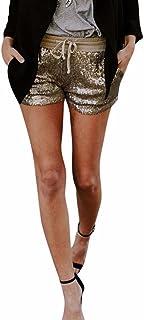 Topgrowth Pantaloncini da Donna Paillettes Pantaloncini con Tasca Casual Club Festa Pantaloni Caldi (Oro