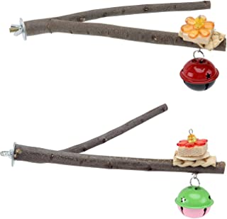 Accessories for Bird- 2pcs Parrot Cage Standing Racks Bird Cage Bird Small Bell Chewing Standing Poles