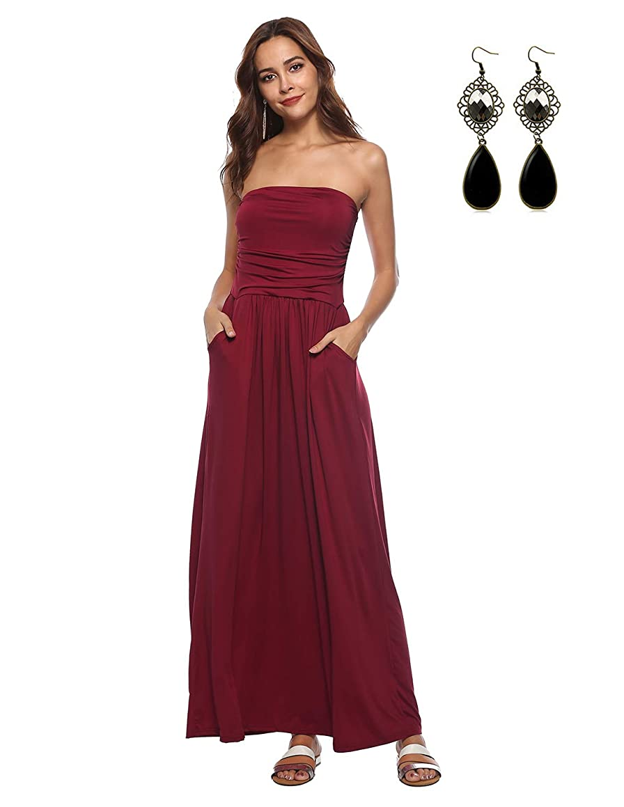 WAEKIYTL Women's Strapless Maxi Dress with Pocket Casual Long Tube Dresses for Evening Party