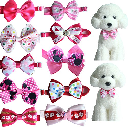 yagopet 10pcs Hot Pet Dog Bow tie Mix Gilrs Colors Cat Dog Bowtie neckties Adjustable Pet Pet Collars Dog Grooming Products Dog Accessories