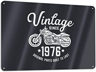 KZANSUI Personalized Painting Vintage Retro Motorcycle Birthday 1976 Rider 11.8 X 7.9 in Metal Tin Sign Funny Iron Tag Plaque Wall Art Poster for Cafe Decoration