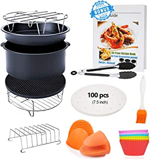 7 inch General Air Fryer Accessories 11 pcs with Recipe Cookbook, Compatible for COSORI Philips Gowise USA Airfryer 3.2QT - 3.5QT - 3.7QT, Deluxe Deep Fryer Accessories Set of 12