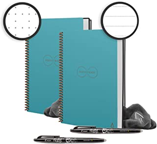 Rocketbook Back to School Bundle - 2 Smart Reusable Notebook Set with 1 Lined & 1 Dot Grid Notebook, 2 Pilot Frixion Pens & 2 Microfiber Cloths - Neptune Teal Cover, Executive Size (6