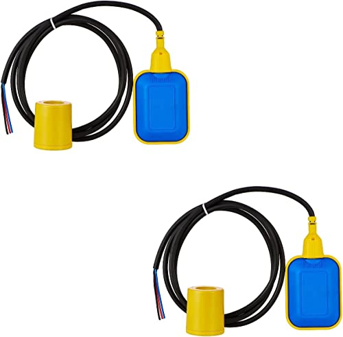 SCIENTIFIC DEVICES Cable Float Level Switch (2 m, Medium, Blue and Yellow)-Pack of 2
