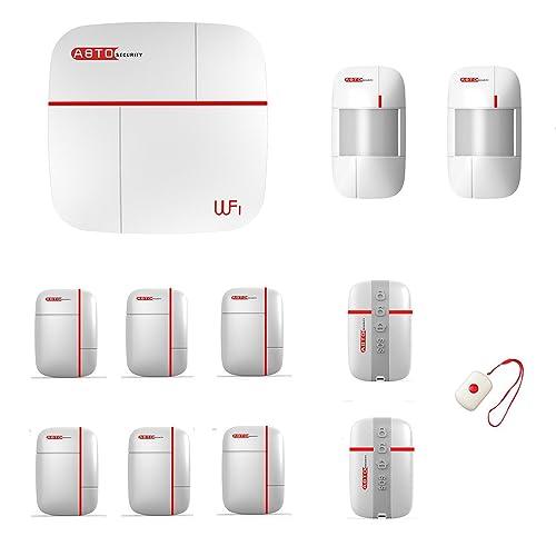 SZABTO Système de protection de sécurité domestique GSM et WLAN à double protection sans fil Télécommande d'application avec capteur de porte et détecteur de mouvement pour la sécurité de la maison (D)