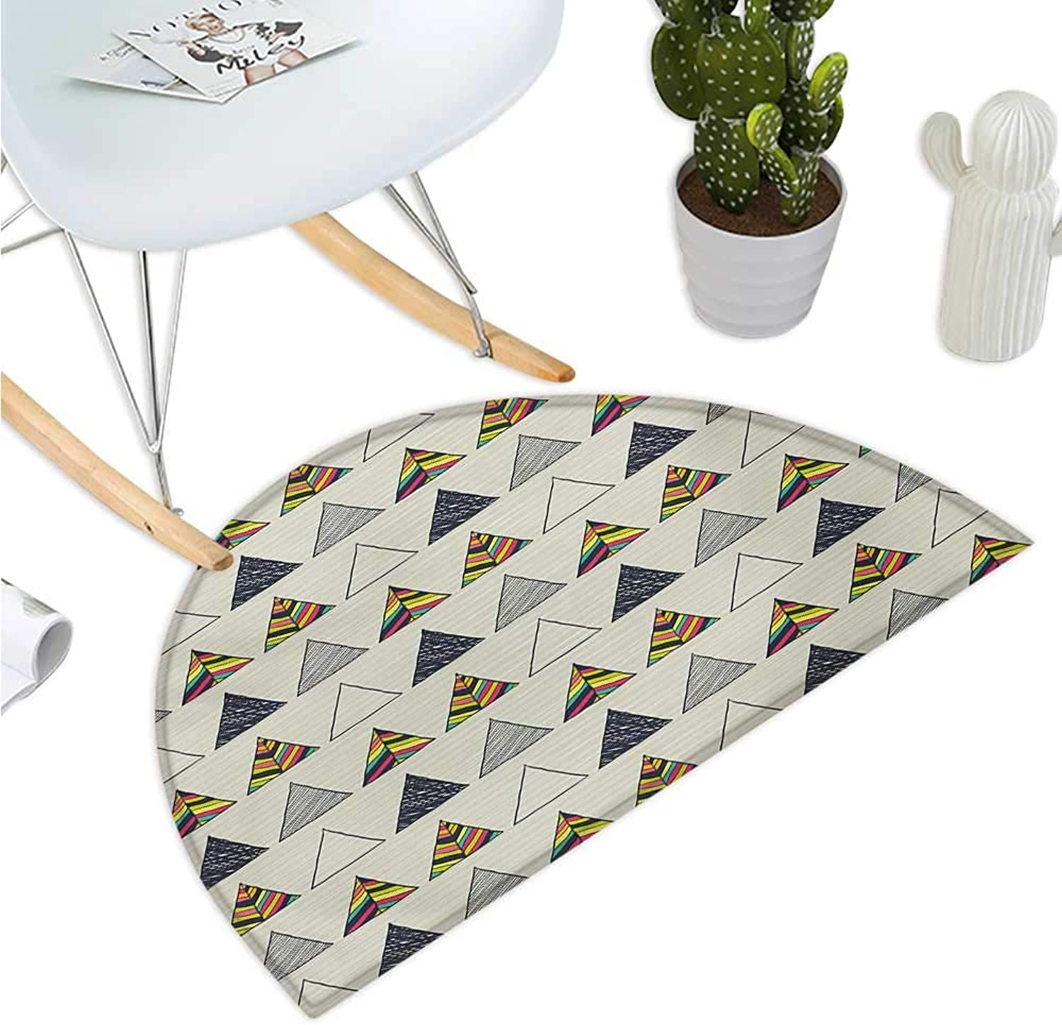 Geometric Half Round Door mats Abstract Hand Drawn Triangles with Minimalist Modern Native Boho Style Illustration Bathroom Mat H 43.3  xD 64.9  Taupe