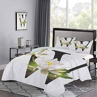 Yoyon Colchas Colcha Lirio de Agua Arreglo Floral Diseño de Alfabeto Inspirado en la Naturaleza Estampado Floral Funda nórdica Premium El Pelo de Las Mascotas no se aferra a él Blanco Verde Negro
