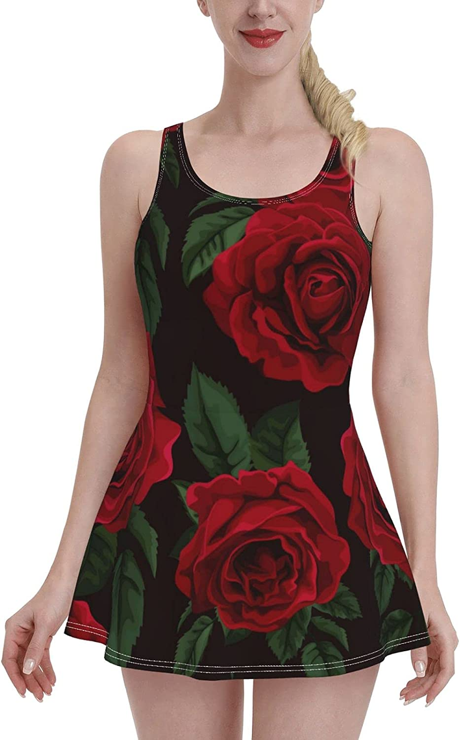 Red Roses Wedding, Birthday, Valentine's Day, Mother's Day Swimdress Swimsuits for