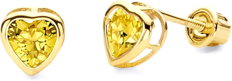 Philadelphia Super special price Mall Wellingsale 14K Yellow Gold Polished 5mm Heart Birth Bezel C Set
