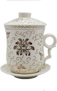 磁器 白磁の中国茶器 4件のひと組の杯 (茶漉し付マグカップ) 蓋付き 350ml (1)