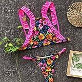 Señoras Traje Baño Bikini Ruffle Floral Bikini High Neck Lace Up String SwimsuitBandage Bathing Suit Women Backless Biquini High Cut Thong S 01