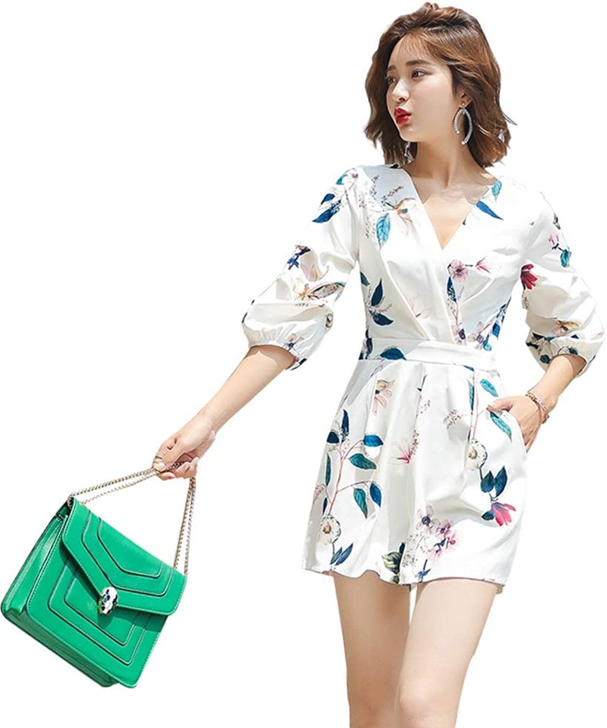 Jumpsuit, VNeck Print Casual Summer Female High Waist Holiday Short Jumpsuit Pants Tide (Size   L)