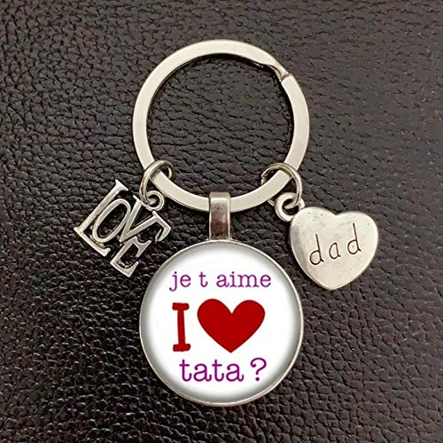 Dad Keychain Convex Glass Pendant Keychain Men's Gift Father's Day Series You Are The Best Dad Keychain Gift