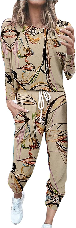 Women Suits Sets, Women's Two Piece Set of Print Long Sleeve Blouse Pockets Pants Two Piece Sets