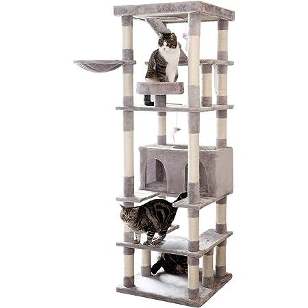 【豪華】190cm 据え置き型 キャットタワー Mwpo 落下防止柵付 階段 ハイタワー 多頭飼い シニア 子猫 大型 頑丈 ハンモック付 猫 爪とぎ キャットタワースタジアム 063B