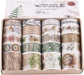 20 Rollos Cinta Adhesiva Vintage, Lychii Decorativas Washi Tape Set para Scrapbooking, Manualidades, Marcos de Fotos, Bull...
