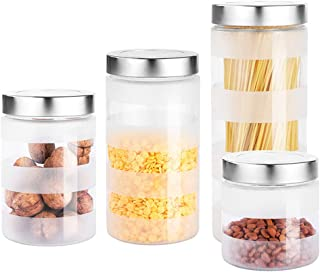 Box Kitchen Storage Box Food Storage Container Sealed Can Glass - Stainless Steel Cover - Kitchen Miscellaneous Grain Storage Tea/Milk Powder Can Set 4 Sets +
