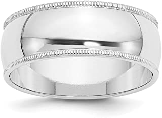 14ct White Gold 8mm Milgrain Half Round Band Ring - Ring Size Options Range: H to Z