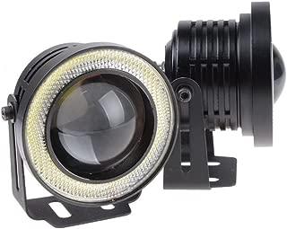 LEDHOLYT 2pcs High Power COB LED Fog Light Projector White Angel Eye Halo Ring DRL Driving Xenon White Lamp (3.0in, White)