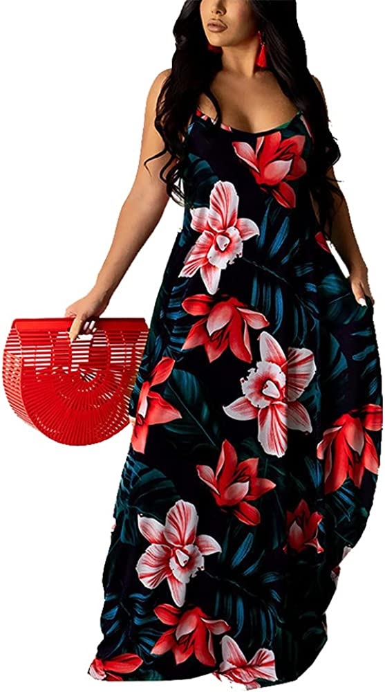 Women's Casual Sexy Summer Spaghetti Strap Maxi Dresses Floral Plus Size Sundress with Pockets