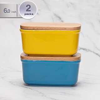 amHomel Porcelain Keeper Container Butter Dish With Beech Wooden Lid, Size for 2 Sticks of Butter (Yellow,blue)
