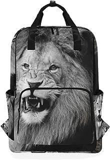 FAJRO - Mochila Escolar de león Blanco y Negro