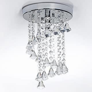 SOTTAE 8'' Mini Flush Mount Crystal Ceiling Light Fixture Modern Style 1 Light Living Room Dining Room Bedroom Hallway Chandelier,Small Chrome Finish Ceiling Light