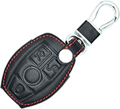 ZHAOHAOSC Leather Car Key Cover,For Mercedes Benz W203 W210 W211 W124 3 Buttons Smart Remote Control Protector Case Keychain