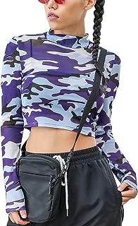WEEKEEP Casual Camo Mesh Long Sleeve Turtleneck Slim Fit Crop Tops for Women