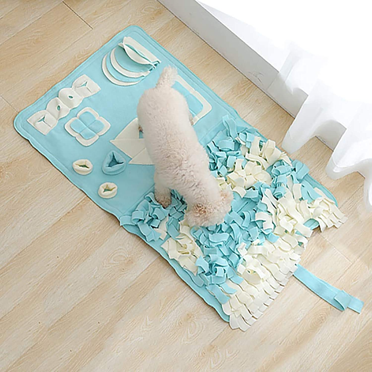 FXQIN Snuffle Mat Dog Feeding Mat, Training Pad Pet Nose Work Blanket Non Slip Pet Activity Mat for Foraging Skill, Great for Stress Release (S, M,L),L