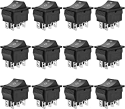 MXRS Rocker Boat Switch, 12 Pcs DPDT 6 Pins Switch Snap, AC 20A/250V 15A/125V, 3 Position ON/Off/ON Mini Boat Rocker Switch Toggle for Car Auto Boat (Black)