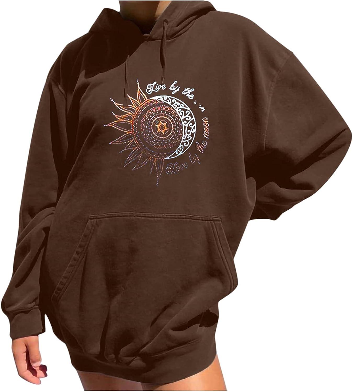 Women's Fall Long Sleeve Sweatshirt Oversized Hooded Tops Pocket Pullover Vintage Sun Moon Pattern Drawstring Hoodies