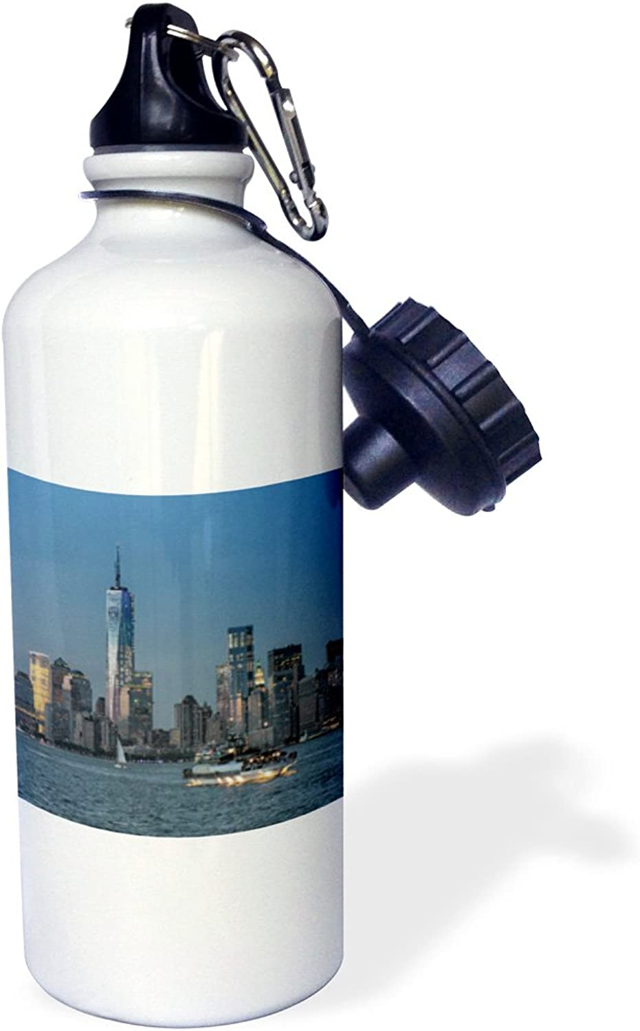 3dpink wb_154694_1  Boat and Freedom Tower  Sports Water Bottle, 21 oz, White