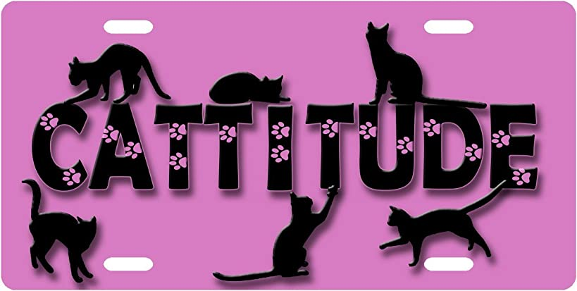 Cat - Cattitude Pink License Plate Novelty Tag from Redeye Laserworks